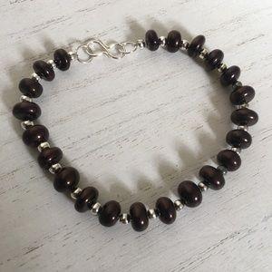 Other - Brown Opal Genuine Gemstone Silver Bracelet